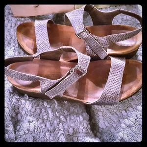 NAOT Pamela Metallic Grey Lizard Leather Sandal
